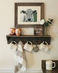 rustic farmhouse shelf kitchen hooks organization