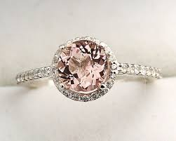 gold and morganite ring 7mm morganite 1 30 ct solid 14k white gold diamond