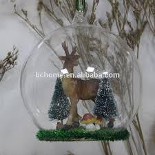 decorative glass dome with mini resin deer inside buy