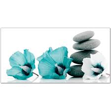 teal flowers large teal and grey canvas pictures of flowers and pebbles