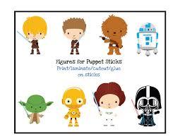 free star wars puppet sticks preschool printables
