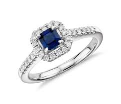 saphire rings asscher cut sapphire and diamond halo ring in 14k white gold