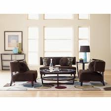 classy living room design with contermporary brown leather sofa