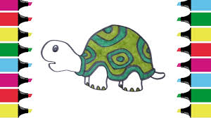 how to draw tortoise coloring pages kids learn drawing art
