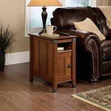 Narrow Leather Sofa End Tables For Living Room With Wooden Floor And Brown Leather