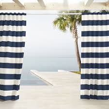 White And Navy Striped Curtains Outdoor Stripe Curtains Navy West Elm