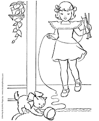 coloring page of a kitty pet cat coloring pages free printable kitty and ball of yarn for