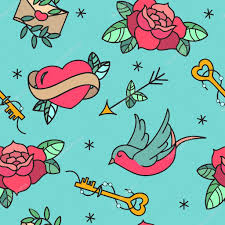 old tattoo vector seamless pattern with roses hearts