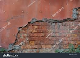 old concrete wall exposed brick wall stock photo 353180897