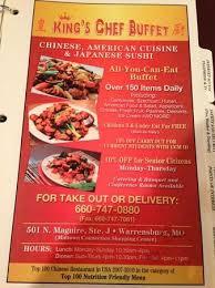 Chinese Buffet Hours by King U0027s Chef Buffet Warrensburg Menu Prices U0026 Restaurant