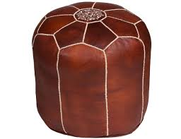 tall brown moroccan leather pouf moroccan buzz