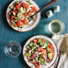 greek tomato and cucumber salad with farro recipe myrecipes
