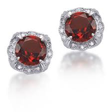 garnet stud earrings 1 64 carat garnet and diamond antique style sterling silver stud