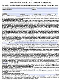 free new york month to month rental agreement u2013 pdf template
