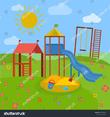 beautiful children playground vector illustration bright stock