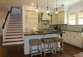 cottage kitchens designs with blue color cabinet coastal inspired