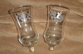 homco hummingbird glass candle holders pair peg votive cups home