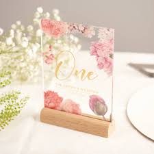 table numbers wedding personalised floral gold acrylic wedding table numbers by oakdene