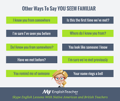 what to say to to be other ways to say you seem familiar could be for a speaking