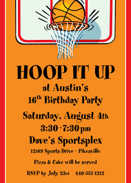 theme invitations basketball hoops invitation