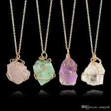 quartz rock necklace images Wholesale fashion irregular rainbow stone natural crystal chakra jpg