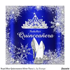 Quinceanera Invitation Cards Royal Blue Quinceanera Silver Tiara 15th Birthday Card