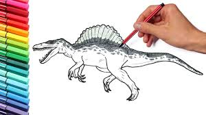drawing and coloring spinosaur from jurassic parck 3 dinosaurs