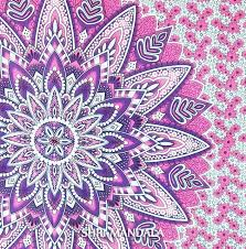 pink purple multi floral queen hippie duvet cover with two pillow