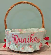 personalized easter basket liners personalized easter basket liner aqua floral dot
