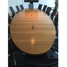 Circle Meeting Table Walnut Veneer Boardroom Table Oval Conference Table Long
