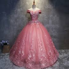 pink dresses gown the shoulder floor length pink wedding dress with