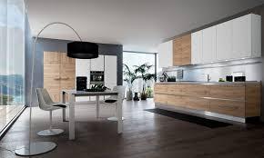 cuisine blanc et bois cuisine moderne sans poignées blanche et bois