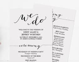 Printed Wedding Programs Rustic Wedding Programs Monogram Wedding Program Printed