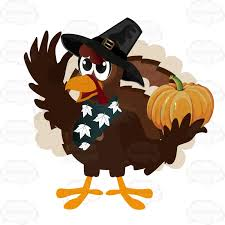 thanksgiving turkey holding a small pumpkin clipart vector