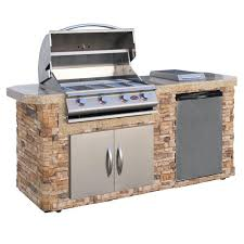 cal flame 7 ft stone grill island with 4 burner stainless steel
