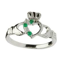 the claddagh ring rings half set sterling silver claddagh ring green cz