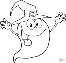 Printable Scary Halloween Coloring Pages by Smiling Halloween Ghost Coloring Page Free Printable Coloring Pages