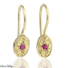 ruby drop earrings engraved oval ruby earrings neta wolpe