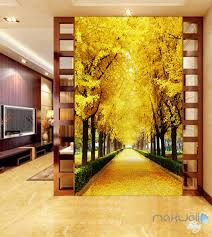 3d wall murals idecoroom 3d autumn tree yellow leaves corridor entrance wall mural decals art prints wallpaper 011