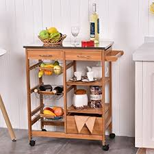 kitchen island trolley amazon com bamboo rolling kitchen island trolley cart storage