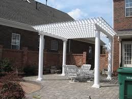 Pergola Roof Cover by Pergola Next To Scren Porch White Pergola And Paver Patio In