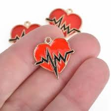 s day charms 10 heartbeat charms gold charms enamel s day