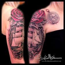 rebel muse tattoos flower vine ship and half