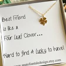 four leaf clover necklace best friend gift gift for