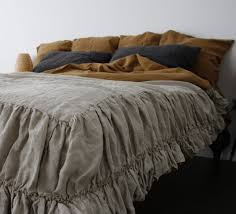 linen coverlet with two ruffles linen bedspread dust ruffle