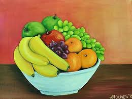 Bowl Of Fruits Original Oil On Canvas Painting Of A Bowl Of Fruit Still Life