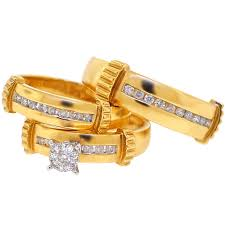 wedding gold sets mens womens 0 65 ct diamond bridal 3 ring set 14k yellow gold