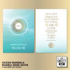 wedding invitations printable mandala boho gold and blue ocean