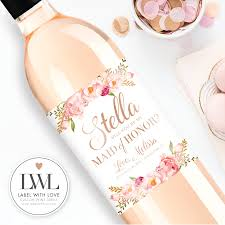 will you be my bridesmaid wine labels will you be my bridesmaid wine labels watercolor floral