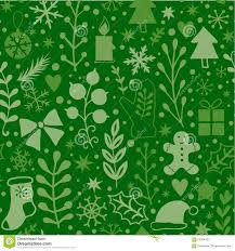merry seamless pattern green plants happy new year